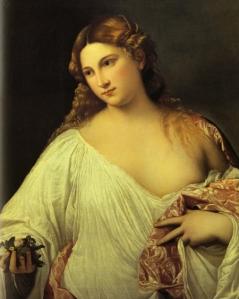 """Flora"", by Titian, 1515-1520 (Florence, Galleria degli Uffizi)"