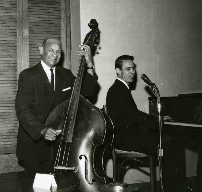 JAZZ/BLUES GREATS Bassist Wellman Braud; pianist/trumpeter/vocalist Kenny Whitson at Sugar Hill, San Francisco, 1961, photograph © William Carter
