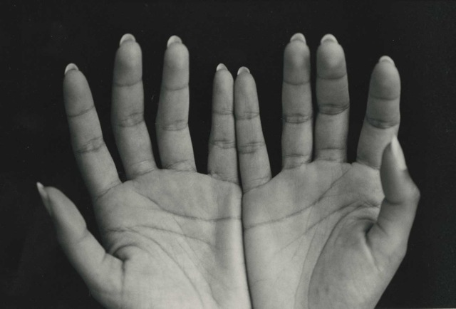 Sramana's Hands, vintage silver print, ©William Carter 2002