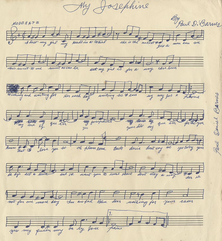 """Clarinetist Paul """"Polo"""" Barnes' manuscript of his tune """"My Josephine,"""" New Orleans, prior to 1960. Polo was remembered by jazz buffs for his tours and recordings with Jelly Roll Morton and King Oliver around 1930. He was remembered by his neighbors for playing sweet songs by himself on summer evenings in his back yard. Collection of William Carter"""