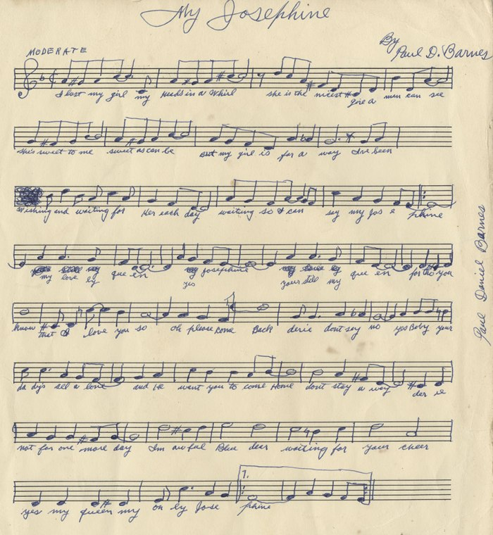 "Clarinetist Paul ""Polo"" Barnes' manuscript of his tune ""My Josephine,"" New Orleans, prior to 1960. Polo was remembered by jazz buffs for his tours and recordings with Jelly Roll Morton and King Oliver around 1930. He was remembered by his neighbors for playing sweet songs by himself on summer evenings in his back yard. Collection of William Carter"