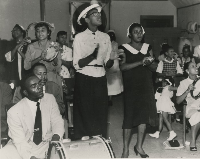 Revival service, Church of God in Christ, New Orleans. Photograph by Ralston Crawford, 1950s. Courtesy Hogan Jazz Archive, Tulane University