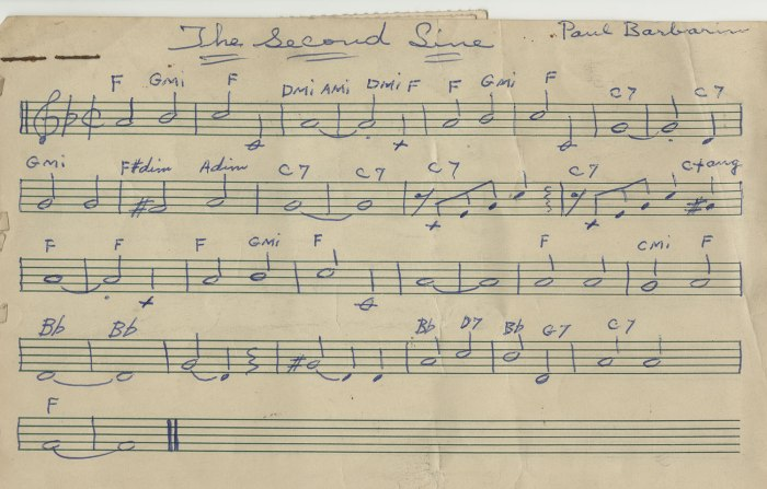 "Drummer Paul Barbarin's manuscript of his song, ""The Second Line"" © circa 1960: the term ""second line"" refers to the enthusiasts who walk and dance along with the brass bands during the New Orleans street parades. Collection of William Carter"