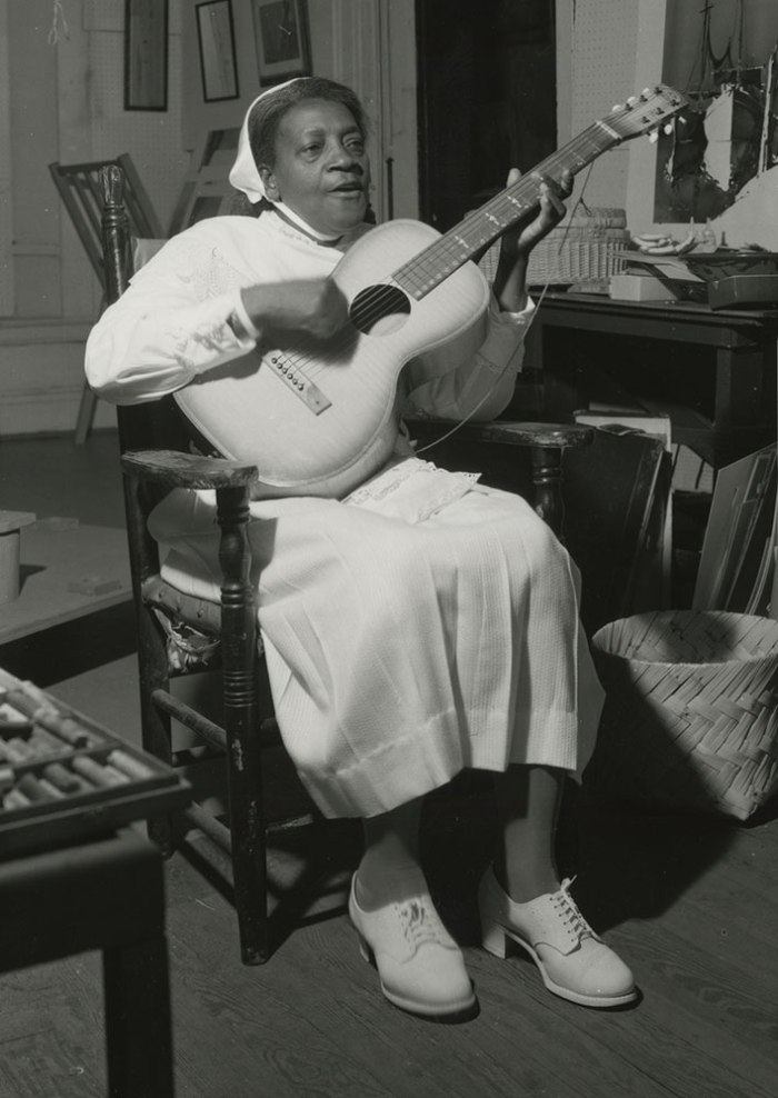 Sister Gertrude Morgan at Associated Artists gallery, New Orleans. Photograph by Dan Leyrer, before 1960.
