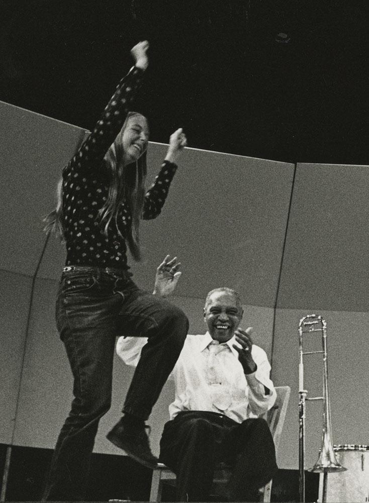 Jim Robinson and fan, California